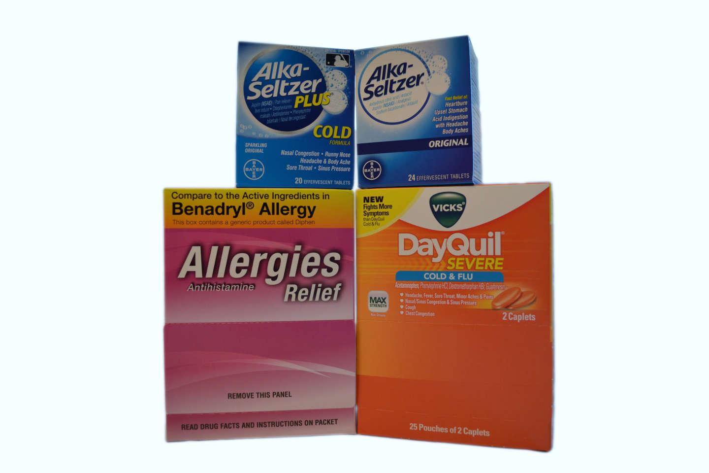 Dayquil, Allergy Relief, Alka Seltzer (Plus & Regular)